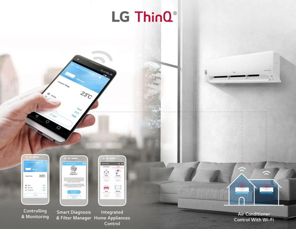 Smart ThinQ Google Assistant AC LG Inverter Dual Cool Lebih Cepat Dingin