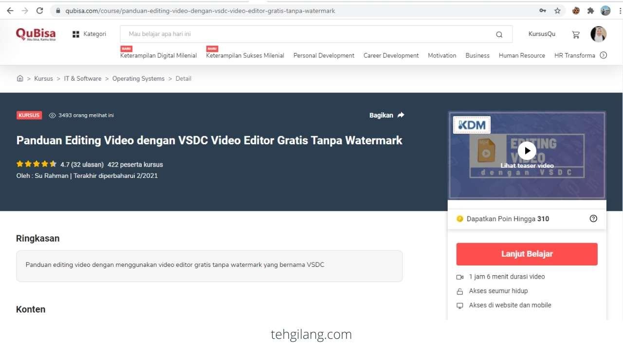 kursus online panduan editing video dengan VSDC gratis